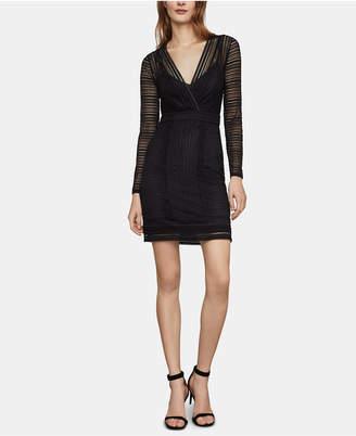BCBGMAXAZRIA Lace Faux-Wrap Bodycon Dress