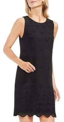 Vince Camuto Topic Heat Scalloped-Hem Sleeveless Shift Dress
