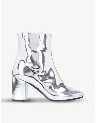 Balenciaga Silver Ville Patent Leather Heeled Ankle Boots