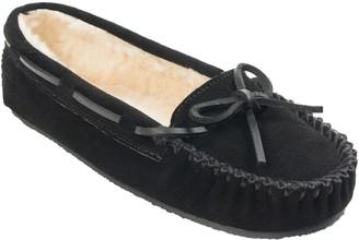 Minnetonka Women's Cally Black Wide Moccasin Slippers