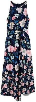 Floral-print Keyhole Dress