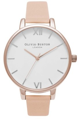 Women's Olivia Burton Big Dial Leather Strap Watch, 38Mm $125 thestylecure.com