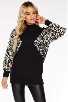 Quiz Black Knit Turtle Neck Leopard Print Sleeve Jumper