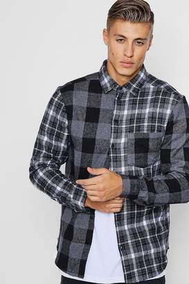 boohoo Contrast Check Long Sleeve Shirt