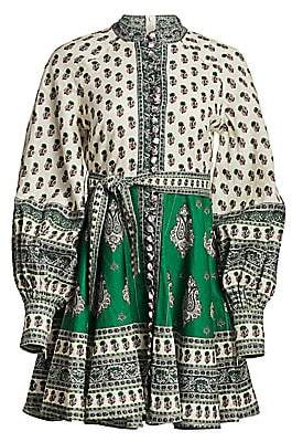 Zimmermann Women's Amari Emerald Linen Multi-Print Dress
