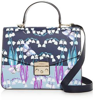 Furla Metropolis Floral Print Medium Leather Satchel