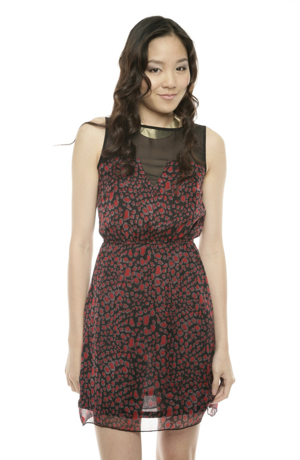 Wendy Katlen Sheer Detail Print Dress