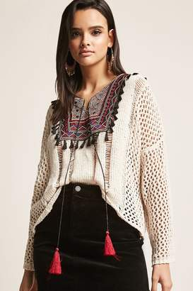 Forever 21 Chenille Open-Knit Tribal-Inspired Tasseled Peasant Top