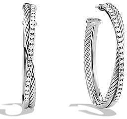 David Yurman Women's Crossover Extra-Large Hoop Earrings with Diamonds