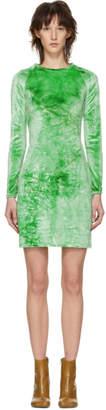 Eckhaus Latta Green Velvet Raglan Mini Dress
