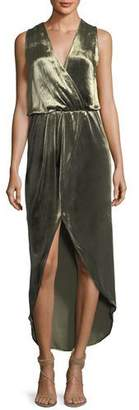 Haute Hippie Sleeveless Draped Velvet Wrap Gown