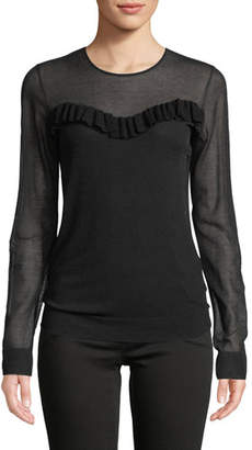 Escada Illusion Ruffle-Trim Long-Sleeve Knit Top