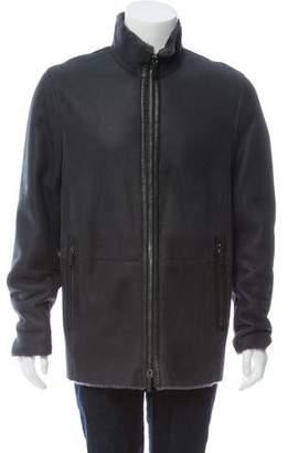 Giorgio Armani Shearling Zip-Up Coat