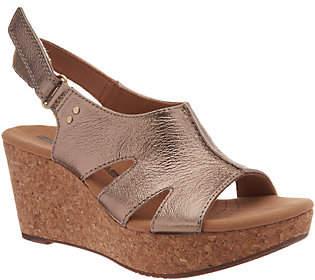 Clarks Leather Cork Wedge Adjustable Sandals -Annadel Bari