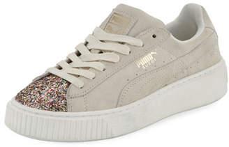 Puma Suede Glittered Platform Sneakers, Cream