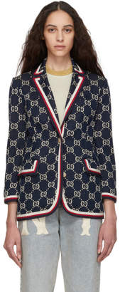 Gucci Blue GG Jacquard Blazer