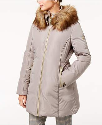 Michael Kors Faux-Fur-Trim Puffer Coat