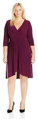 Star Vixen Women's Plus Size Elbow Sleeve Ity Knit Short Dress with Surplice Neckline, Inset Waist Emphasizing Band, and Tulip Wrap-Effect Surplice Skirt