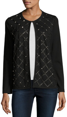 Grayse Lizzy Diamond-Studded Leather Jacket, Black $485 thestylecure.com