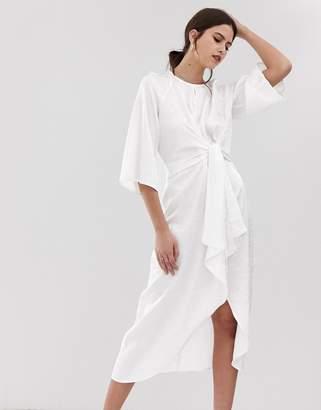 Y.A.S twist detail satin floral midi dress in white