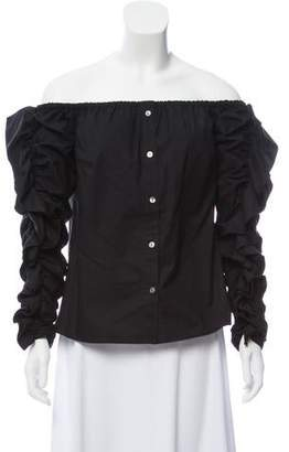 Petersyn Ruffle-Trimmed Off-The-Shoulder Button-Up Top