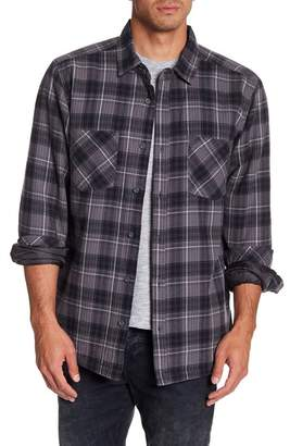 Quiksilver Plaid Print Regular Fit Faux Shearling Lined Shirt