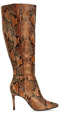 Schutz Women's Magalli Knee-High Snakeskin-Embossed Leather Boots