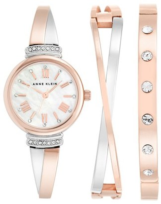 Women's Anne Klein Round Watch & Bangle Set, 26Mm $150 thestylecure.com