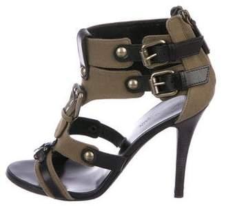 Balmain Leather-Trimmed High-Heel Sandals