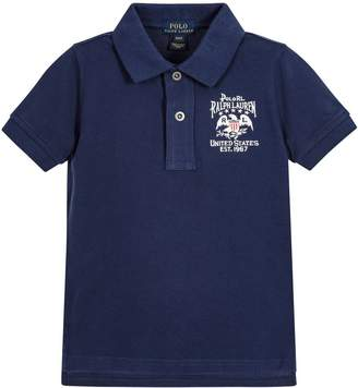Ralph Lauren Vintage Flag Patch Short Sleeve Polo Shirt (Large 14 - 16)