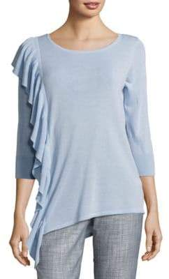 Foxcroft Ruffled Cotton-Blend Sweater