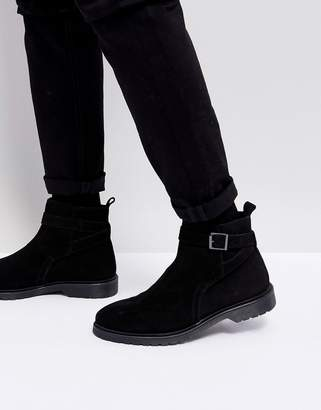 Asos DESIGN Chelsea Boots In Black Leather With Strap Detail