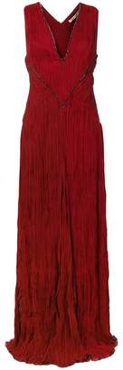 Roberto Cavalli pleated gown with embroidery