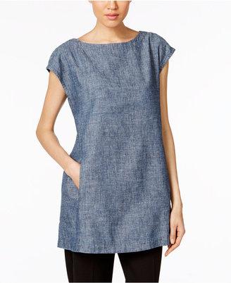 Eileen Fisher Hemp-Organic Cotton Chambray Tunic $168 thestylecure.com