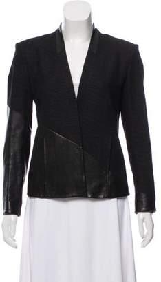 Helmut Lang Leather-Trimmed Long Sleeve Blazer