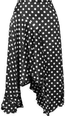 Caroline Constas Flounce Polka-dot Stretch-silk Satin Midi Skirt - Black