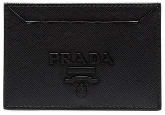 Prada black logo embossed leather cardholder