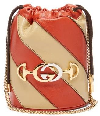 Gucci Zumi Leather Bucket Bag - Womens - Orange Multi