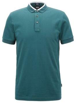 BOSS Hugo Slim-fit polo shirt in cotton pique colorblock collar XXXL Dark Green