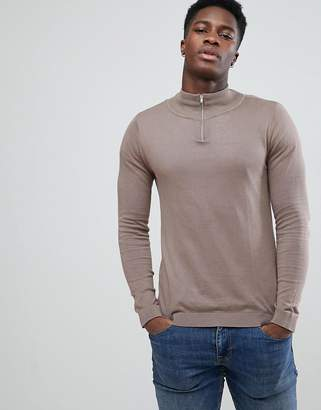 Asos Half Zip Cotton Sweater In Light Brown