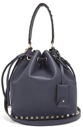 Valentino - Rockstud Bucket Grained Leather Cross Body Bag - Womens - Navy