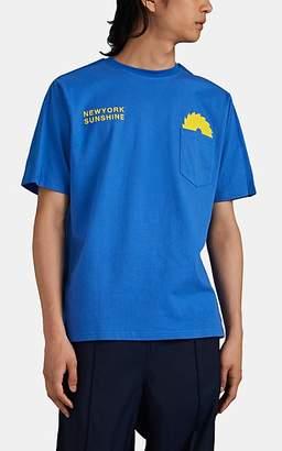 U.P.W.W. Men's Reflective-Tape-Trimmed Graphic Cotton T-Shirt - Blue