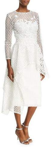 Oscar de la Renta Long-Sleeve Open-Lace Blouse with Asymmetric-Hem