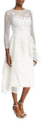 Oscar de la Renta Long-Sleeve Open-Lace Blouse with Asymmetric-Hem