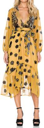 For Love & Lemons Heather Scarf Dress Mustard