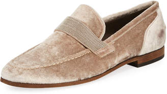 Brunello Cucinelli Flat Metallic Velvet Loafer