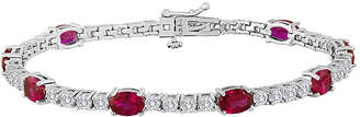 JCPenney FINE JEWELRY Oval Lab-Created Ruby and Cubic Zirconia Tennis Bracelet