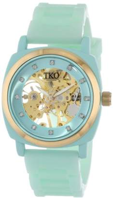 TKO ORLOGI Women's TK626TQ Milano Turquoise Rubber Mechanical Movement Skeleton Watch