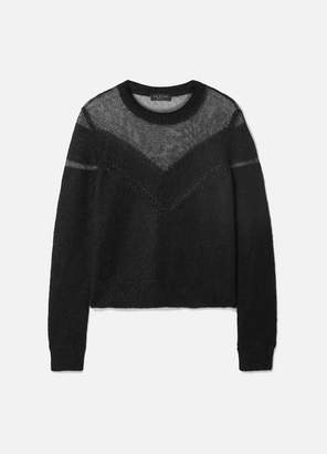 Rag & Bone Blaze Paneled Open-knit Sweater - Black