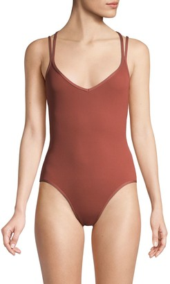 L-Space V-Neck One-Piece Swimsuit